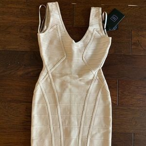 Beige Herve Leger Dress